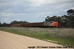 The Hopetoun to Hamilton mineral sands train hauled by S302-GM36-T386 photographed between Minyip and Coromby on the afternoon of Mon.17.Sept.2012
